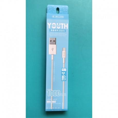 Jellico Youth USB Type-C 1M Dátový kábel - Biele