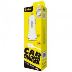 INKAX CD-12 2xUSB 2.1A nabíjačka do auta + Micro USB Dátový kábel - Biele