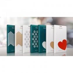 Samsung G900/S5 Flip Wallet Moschino Piece Knižkové puzdro - Biely